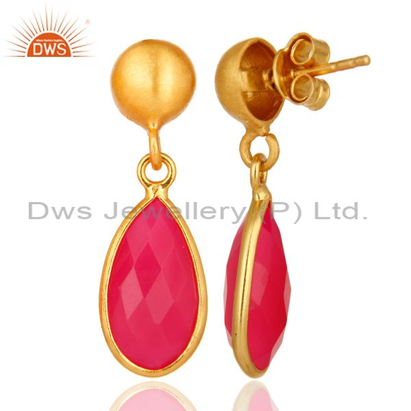 Designers Faceted Pink Chalcedony Drop Earrings In 18K Gold Over Sterling Silver