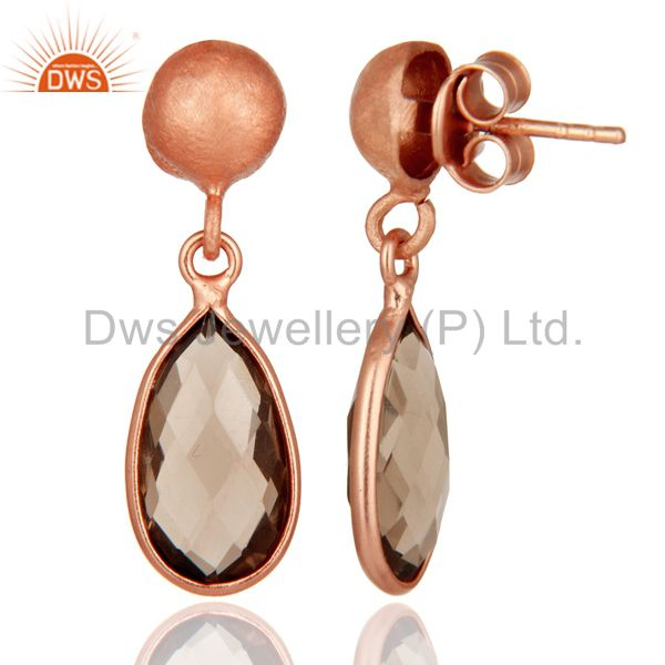 Designers 18K Rose Gold Plated Sterling Silver Smoky Quartz Gemstone Drop Dangle Earrings
