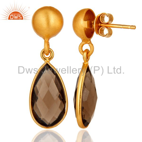 Designers Faceted Natural Smoky Quartz Plated Gold Bezel Set Sterling Silver Drop Earring