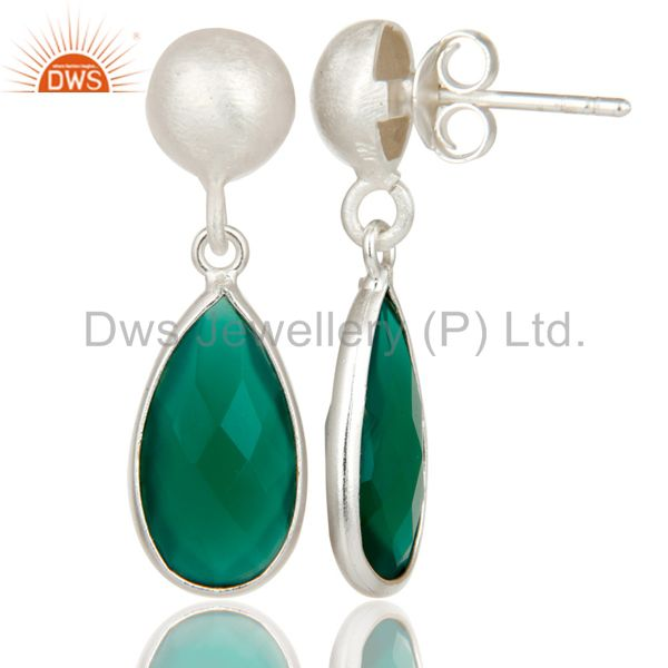 Designers Solid Sterling Silver Green Onyx Gemstone Bezel Set Teardrop Earrings