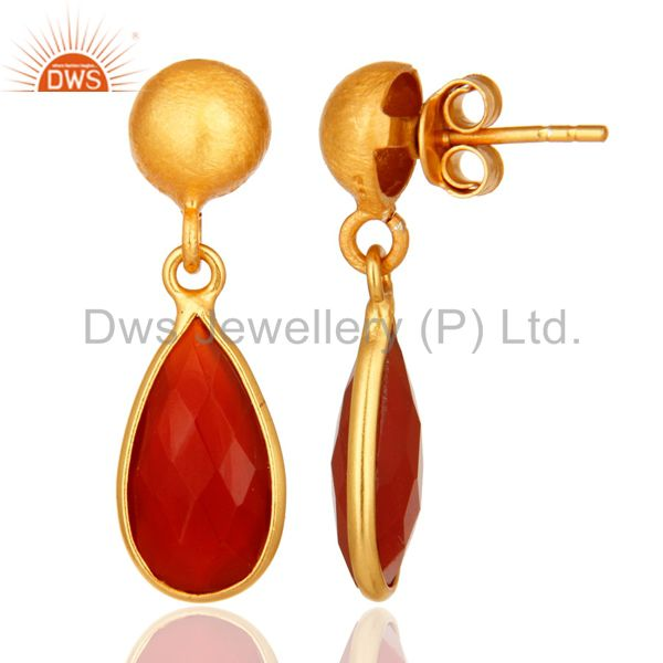 Designers Natural Red Onyx Gold Plated Sterling Silver Drop Earrings