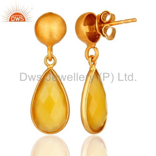 Designers Faceted Yellow Moonstone Pear Shaped Gold Plated Sterling Silver Drop Earrings