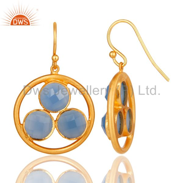 Designers Handmade 18k Gold Plated Silver Blue Chalcedony Gemstone Circle Dangle Earrings