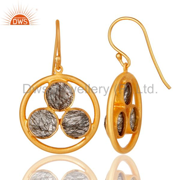 Designers Artisan 18k Gold Plated Silver Black Rutile Gemstone Circle Dangle Earrings