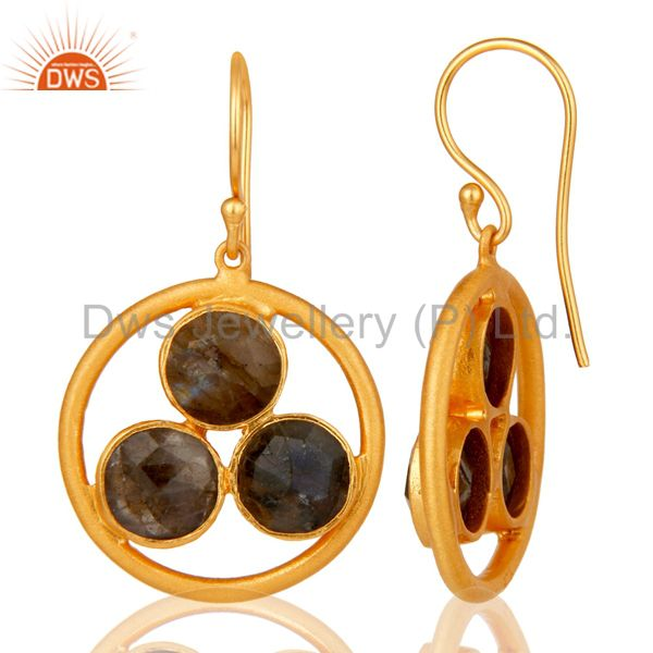 Designers 18k Gold Plated 925 Silver Labradorite Gemstone Circle Dangle Handmade Earrings