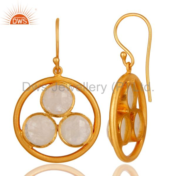 Designers 18k Gold Plated 925 Silver Rainbow Moonstone Gemstone Circle Dangle Earrings