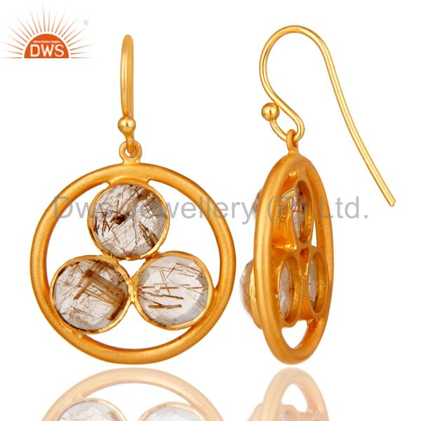 Designers 18k Gold Plated Sterling Silver Yellow Rutile Gemstone Circle Dangle Earrings