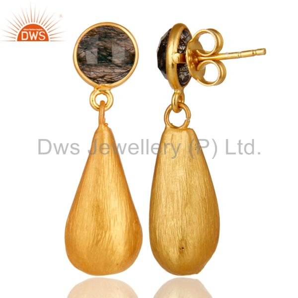 Designers Tourmulated Quartz 22K Yellow Gold Plated Sterling Silver Teardrop Earrings