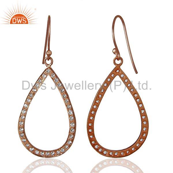 Suppliers Rose Gold Plated 925 Silver White Topaz Gemstone Earrings Manufacturer