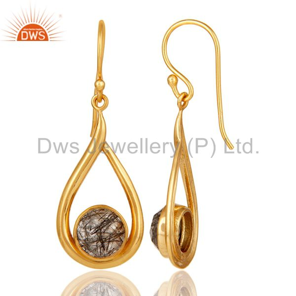 Designers 18k Yellow Gold Plated Tourmulated Quartz Gemstone Sterling Silver  Earring
