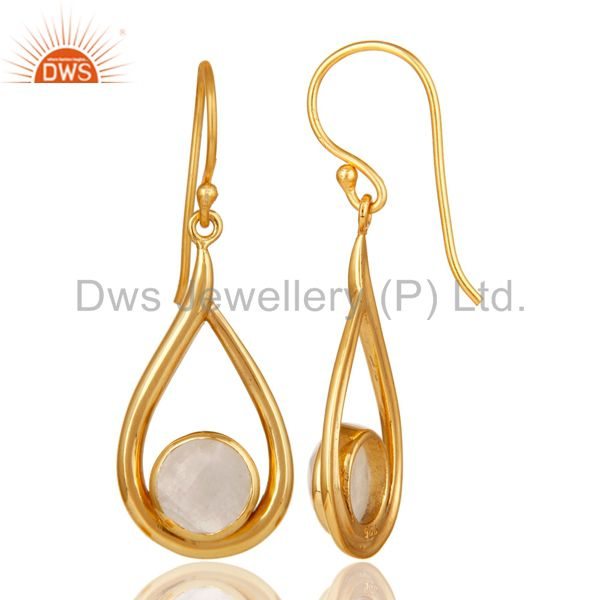 Designers 18k Yellow Gold Plated Rainbow Moonstone Gemstone Silver Dangle Drop Earring
