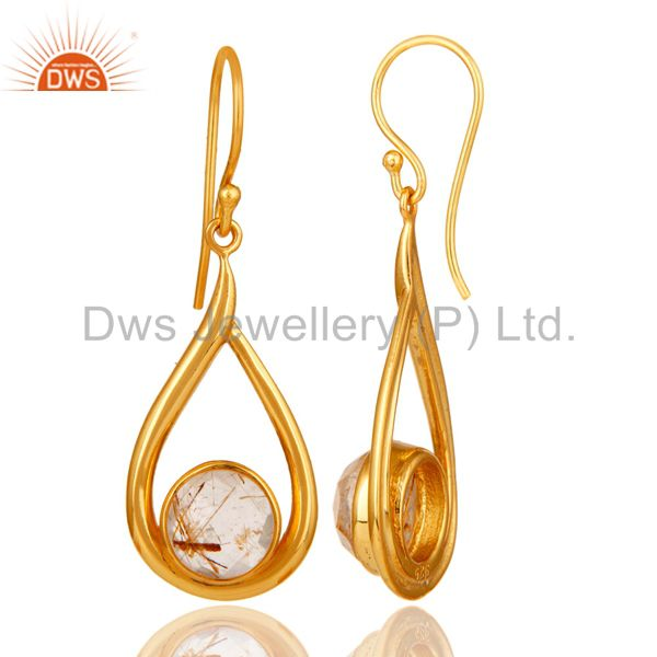 Designers 18k Yellow Gold Plated Rutilated Quartz Gemstone Sterling Silver  Earring