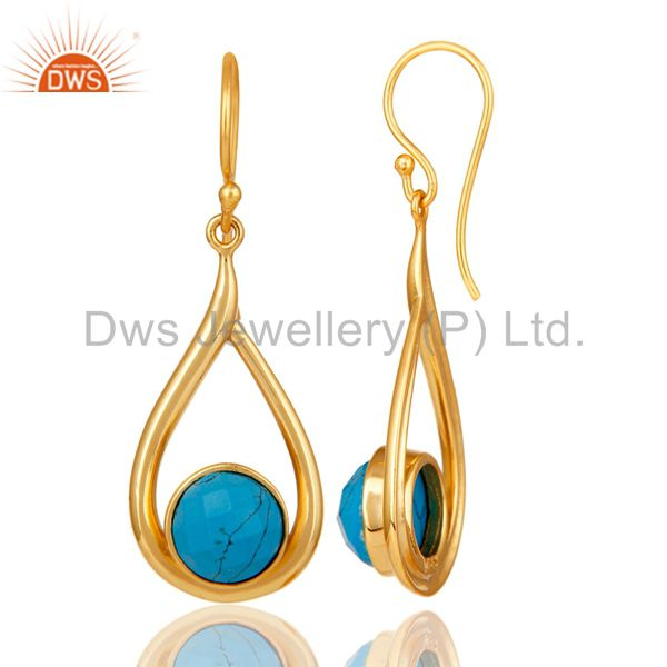Designers 18k Yellow Gold Plated Sterling Silver Turquoise Drop Dangle Earring
