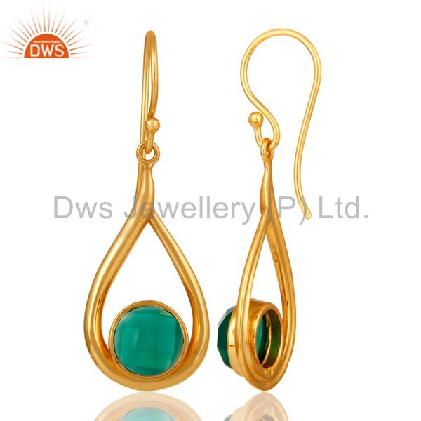 Designers 18k Yellow Gold Plated Green Onyx Sterling Silver Earring