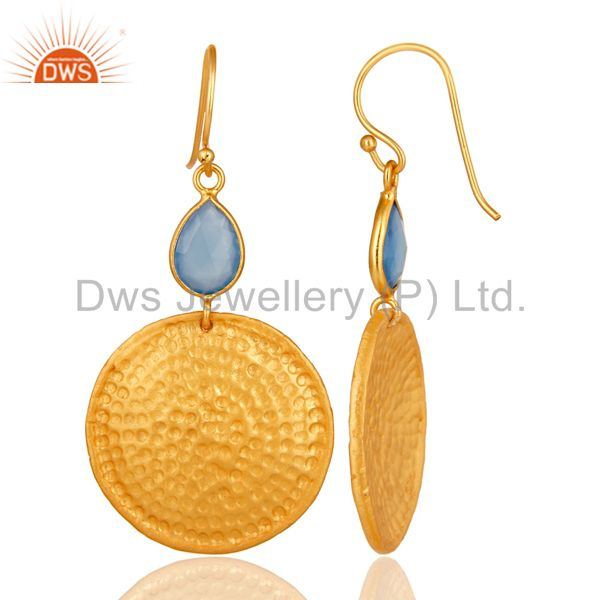 Designers 22K Gold Plated Sterling Silver Blue Chalcedony Hammered Disc Dangle Earrings