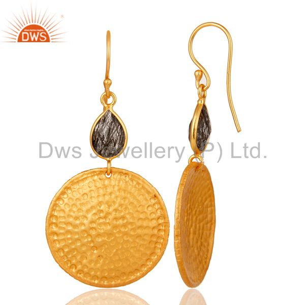 Designers 22K Gold Plated Sterling Silver Black Rutile Hammered Disc Dangle Earrings