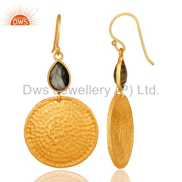 Designers 22K Gold Plated Sterling Silver Hammered Disc Dangle Earrings With Labradorite