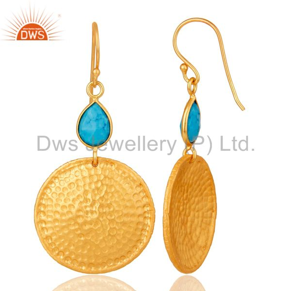 Designers 22K Gold Plated Sterling Silver Turquoise Disc Dangle Hammered Earrings