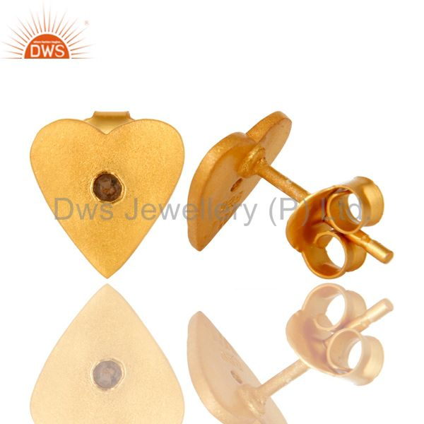 Suppliers 24K Yellow Gold Plated Sterling Silver Smoky Quartz Heart Stud Earrings