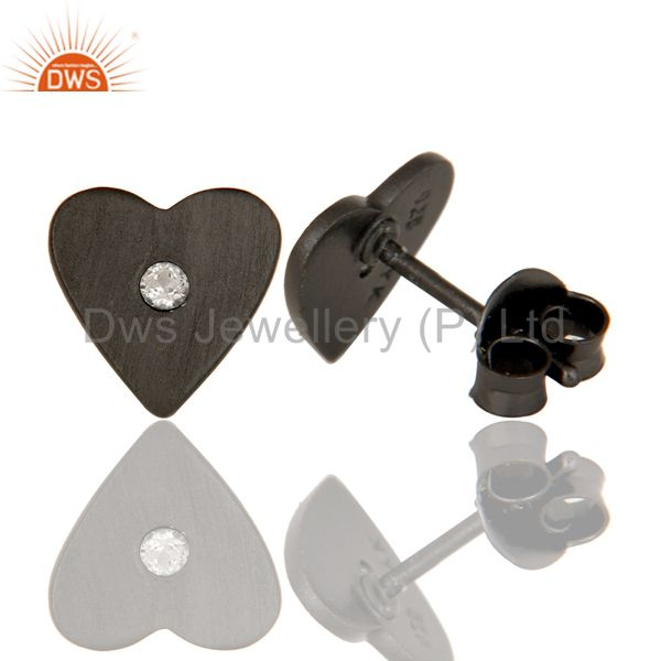 Designers Oxidized Sterling Silver White Topaz Heart Stud Earrings For Her