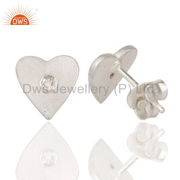 Designers 925 Solid Sterling Silver White Topaz Gemstone Heart Stud Earrings For Her