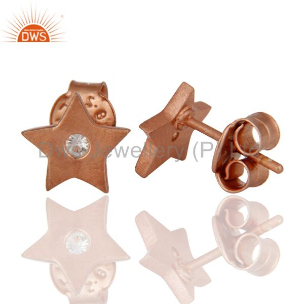 Suppliers 18K Rose Gold Plated Sterling Silver White Topaz Star Stud Earrings For Womens