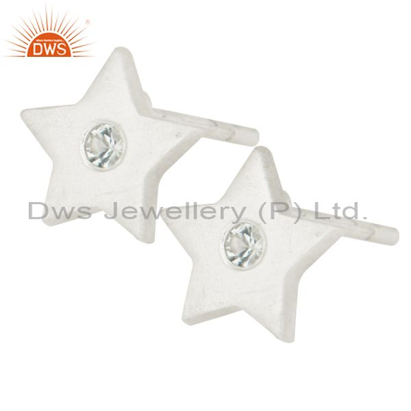 Suppliers 925 Sterling Silver Natural White Topaz Star Womens Stud Earrings