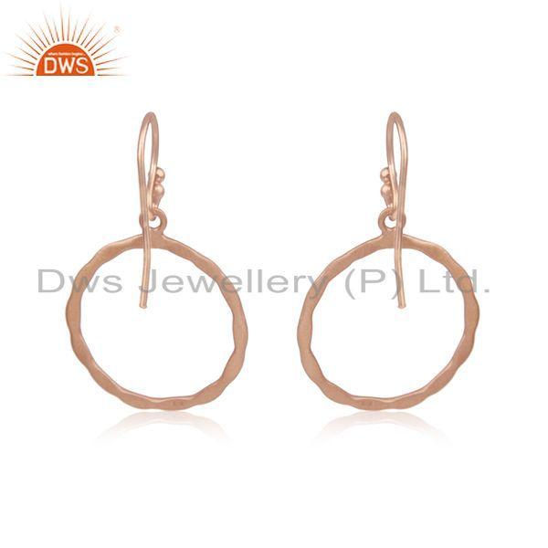 Suppliers 18K Rose Gold Plated Sterling Silver Hammered Circle Dangle Hook Earrings