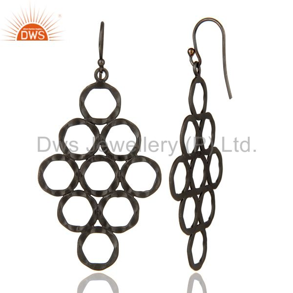 Designers 925 Sterling Silver With Oxidized Hammered Open Circle Dangle Earrings