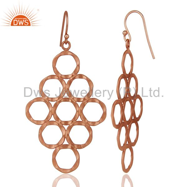 Designers 18K Rose Gold Plated Sterling Silver Hammered Multi Open Circle Dangle Earrings