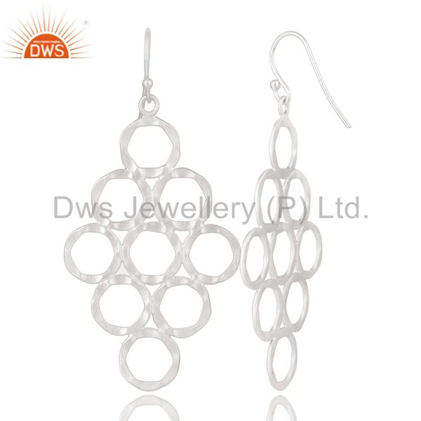Designers Handmade 925 Solid Sterling Silver Hammered Multi Circle Dangle Earrings