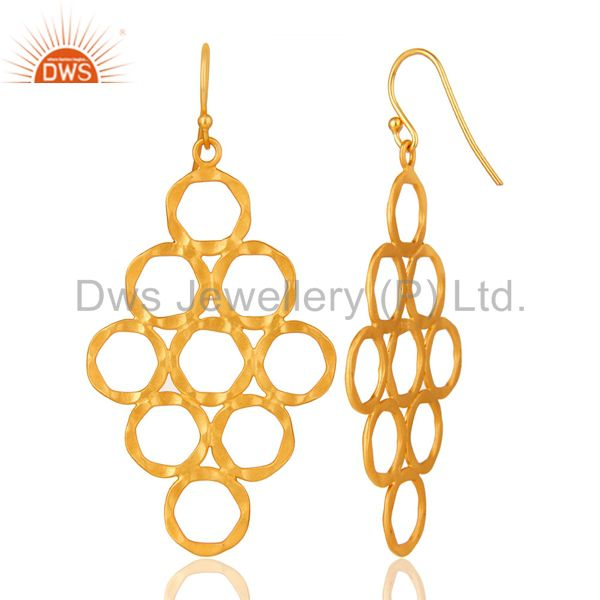 Designers 24K Yellow Gold Plated Sterling Silver Hammered Open Circle Dangle Earrings