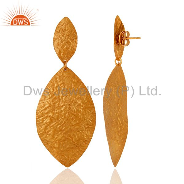 Designers Handcrafted Solid Sterling Silver Dangle Earrings With Yellow Gold Plated