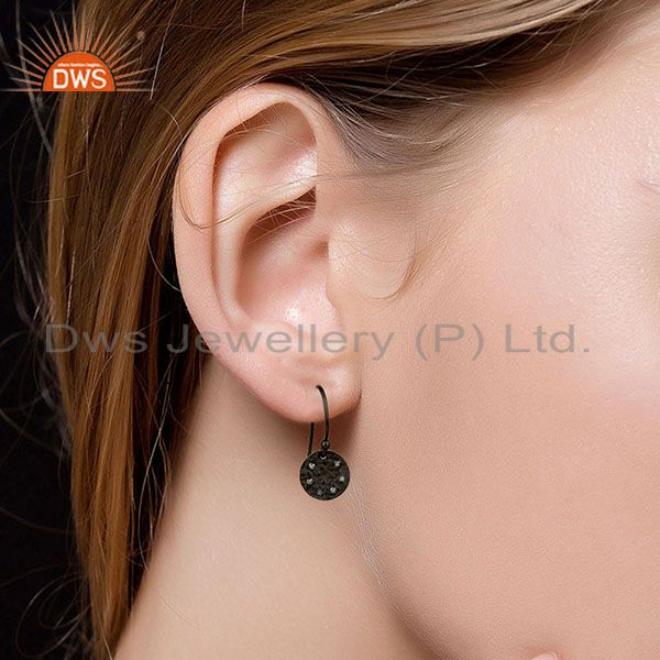 Suppliers Black Oxidized 925 Sterling Silver Handmade White Topaz Drops Earrings Jewelry