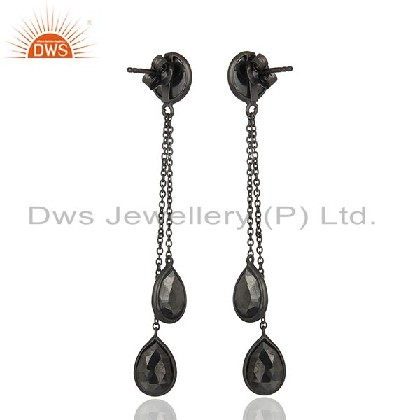 Suppliers Hematite Gemstone 925 Black Silver Designer Earrings Manufacturers