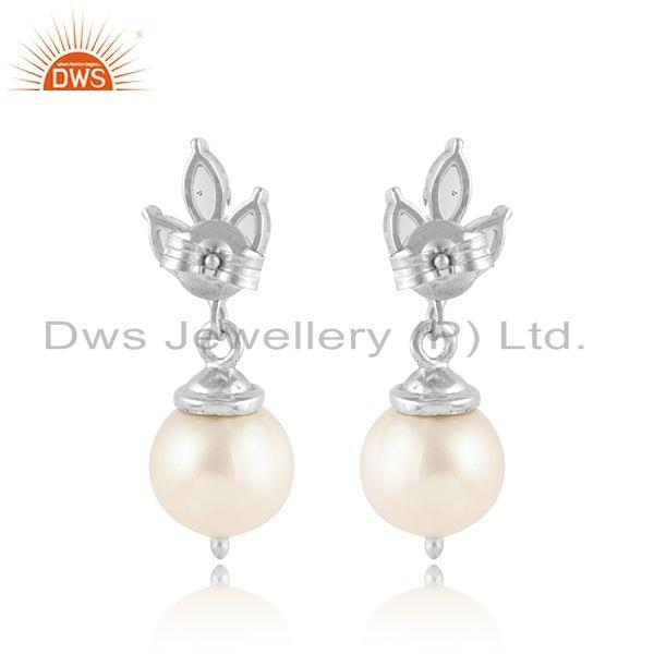 Designer of White rhodium plated silver pearl crystal quartz gemstone earring