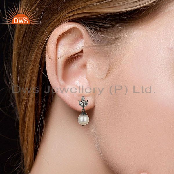 Suppliers Black Oxidized 925 Sterling Silver Crystal Quartz & Pearl Beads Drops Earrings