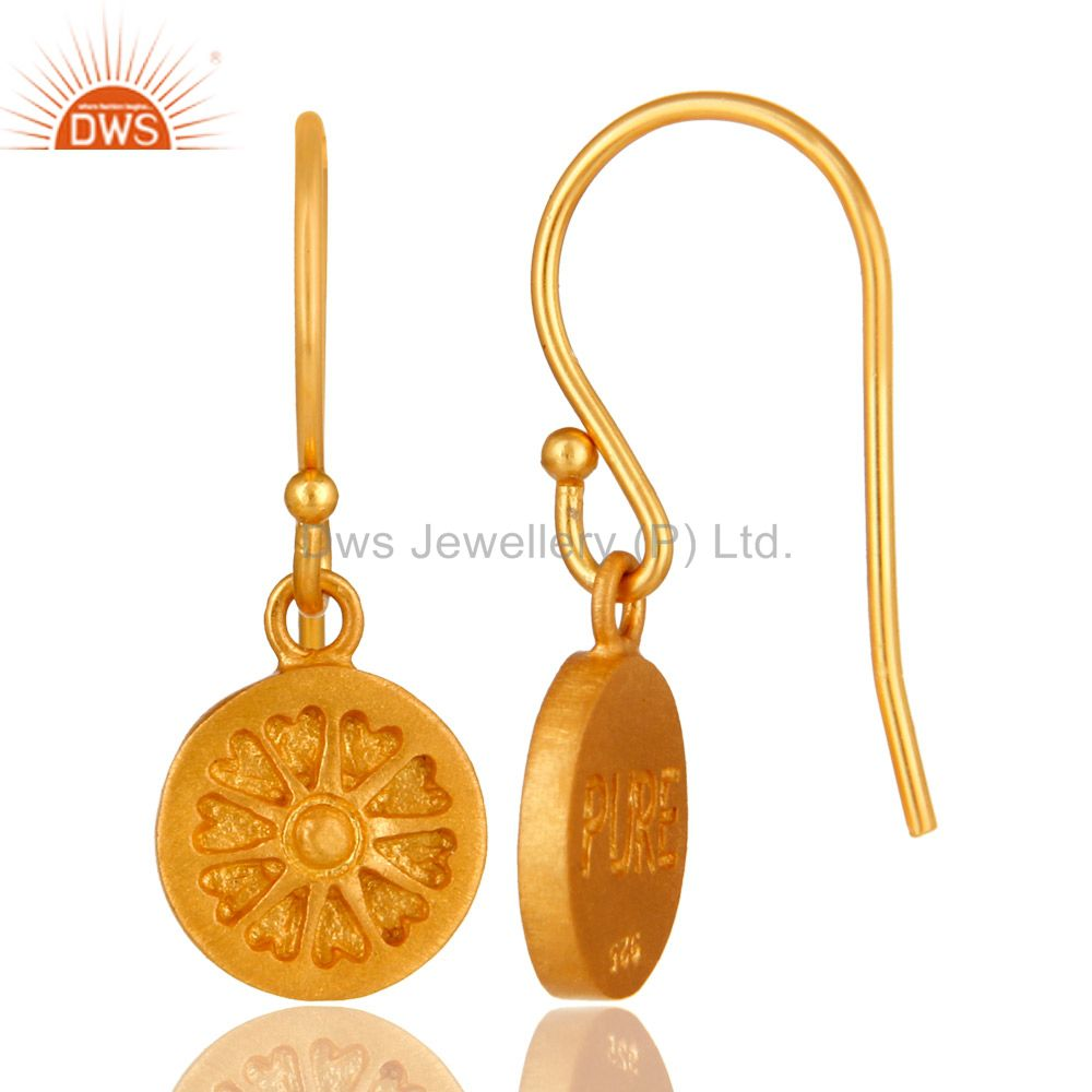 Suppliers 22K Yellow Gold Plated Sterling Silver Circle Dangle Earrings For Womens