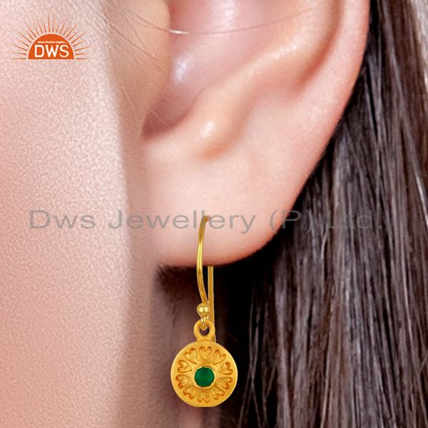 Suppliers Designer Gold Plated Silver Green Onyx Gemstone Earrings Manufacturer