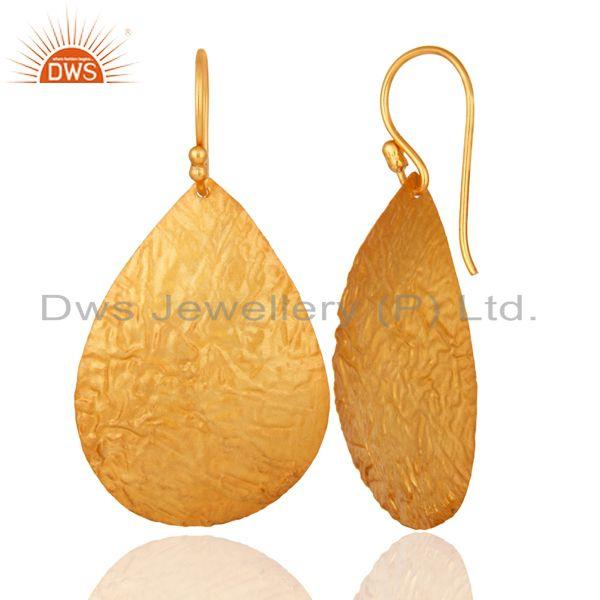 Suppliers 14K Gold Plated 925 Sterling Silver Hammered Lightweight Petals Dangle Earrings