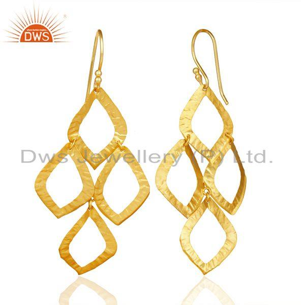 Suppliers 18K Yellow Gold Plated Sterling Silver Cutout Dangle Earrings