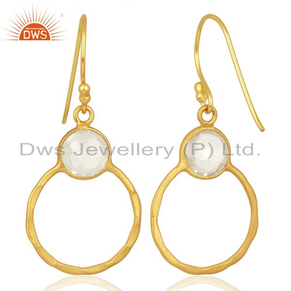 Suppliers Crystal Quartz Dangle 14K Gold Plated 925 Sterling Silver Earrings Jewelry