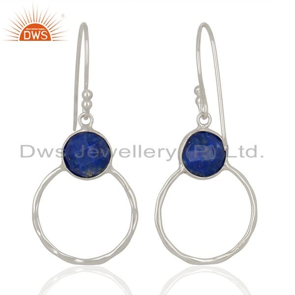 Suppliers Lapis Lazuli Vintage Double Circle Sterling Silver White Rhodium Plated Earring