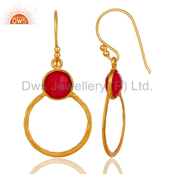 Designers Red Aventurine 18K Gold Plated Sterling Silver Circle Earring