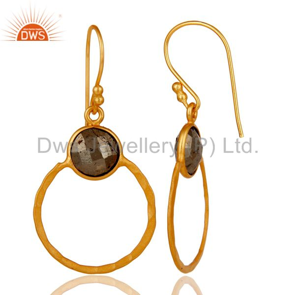 Designers Pyrite and 18K Gold Plated Sterling Silver Circle Earring