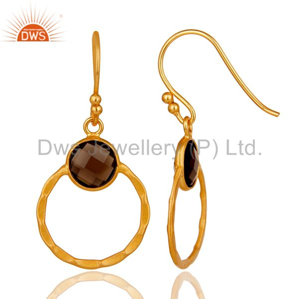 Suppliers Smokey 18K Gold Plated Sterling Silver Circle Earring