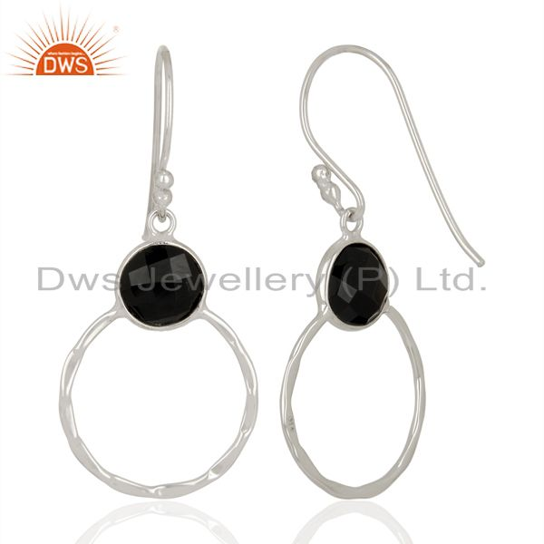 Suppliers Black Onyx Vintage Double Circle Sterling Silver White Rhodium Plated Earring