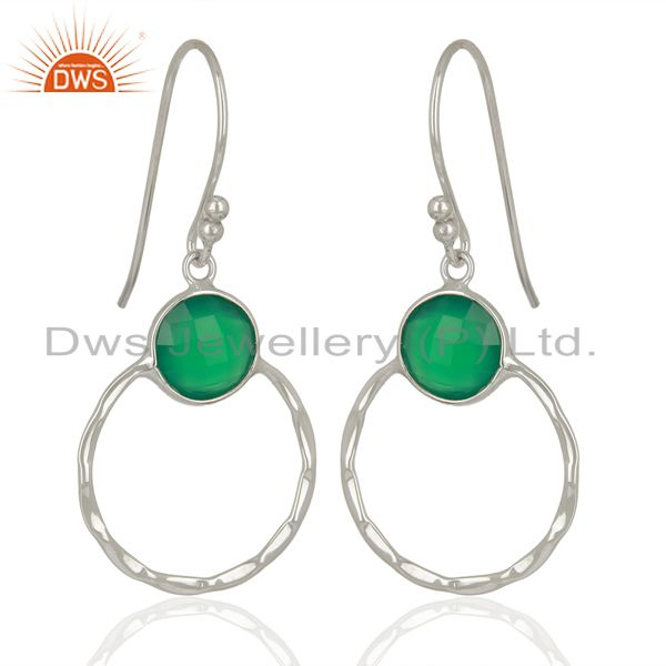 Suppliers Green Onyx Double Circle 925 Sterling Silver White Rhodium Plated Earring