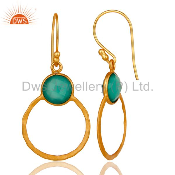 Designers Green Onyx & 18K Gold Plated Sterling Silver Circle Earring