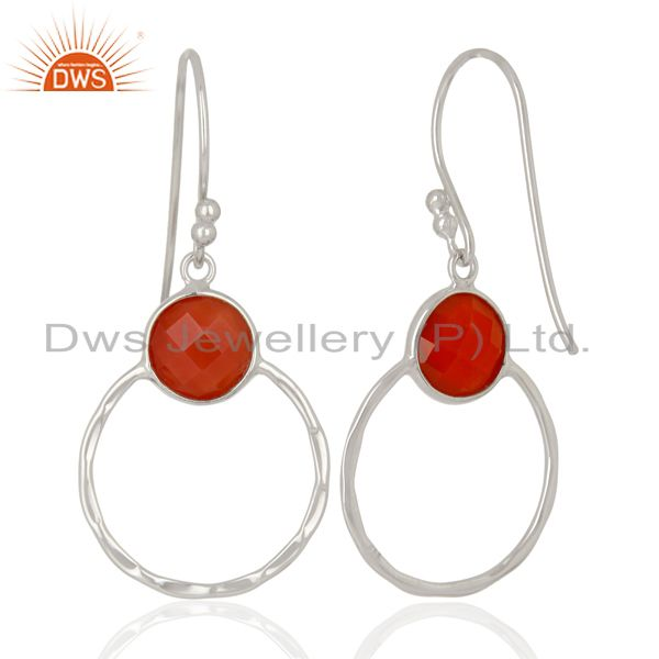 Suppliers Red Onyx Double Circle  925 Sterling Silver White Rhodium Plated Earring